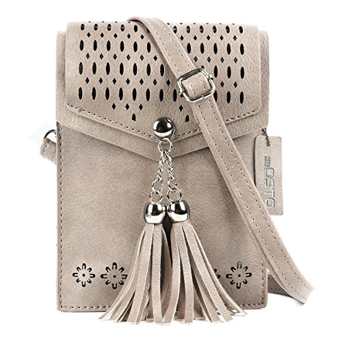 - Women Small Crossbody Bag, seOSTO Tassel Cell Phone Purse Wallet Bags (Beige)