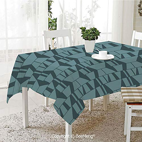 Dining Kitchen Polyester dust-Proof Table Cover,Green,Modern Art Deco Style Minimalist Geometric Squares Triangles Image,Petrol Blue and Dark Blue,Rectangular,59 x 59 inches