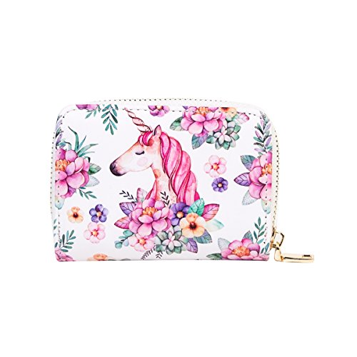 Purse Accordion Wallet (OURBAG Cute Cartoon Accordion Wallet RFID Leather Card Wallet for Women Pink Unicorn)