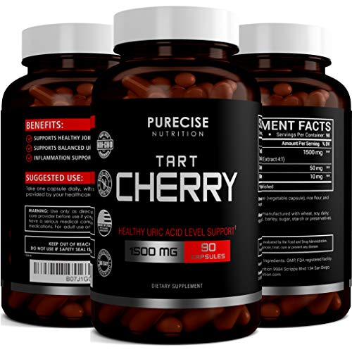 Tart Cherry Extract Capsules 1500mg with Bilberry and Celery Seed Extract - Supports Uric Acid Cleanse, Joint Pain, Healthy Sleep, Muscle Recovery and Anti Inflammatory - 90 Vegetarian Capsules