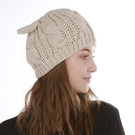 e075ab5189119 JINSH Home Sombrero Femenino cálido de Punto en otoño e Invierno Jacquard 8  Palabras Orejas de