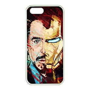 iPhone 5 case ,fashion durable White side design phone case, rubber material phone cover ,with Tony Stark Iron Man .