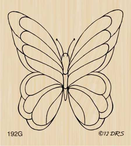 Large Single Butterfly Rubber Stamp By DRS Designs
