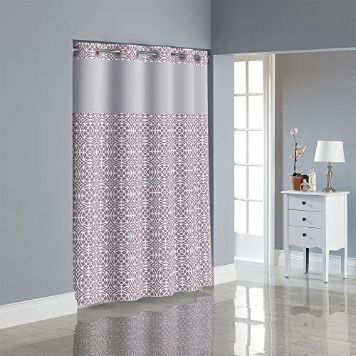 Hookless RBH40MY061 Medallion Shower Curtain with PEVA liner - (Lavender Snap)