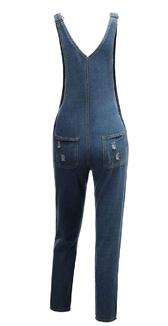 WAWAYA Womens Overalls Denim Pockets Hole Stretchy Jeans Long Rompers