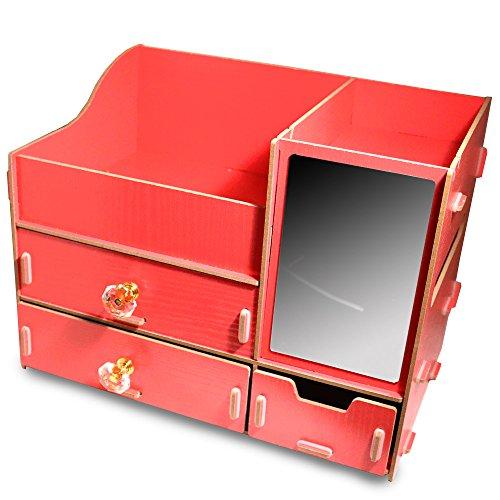 Fashion DIY Wooden Makeup Storage Display Box 3 Drawers Jewelry Cosmetics Storage Organizer with Mirror (Red)