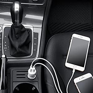 AmazonBasics Dual-Port USB Car Charger for Apple & Android Devices - 4.8 Amp/24W, Black/Red