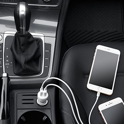 AmazonFundamentals Dual-Port USB Car Charger Adapter for Apple and Android Devices, 4.8 Amp, 24W, White