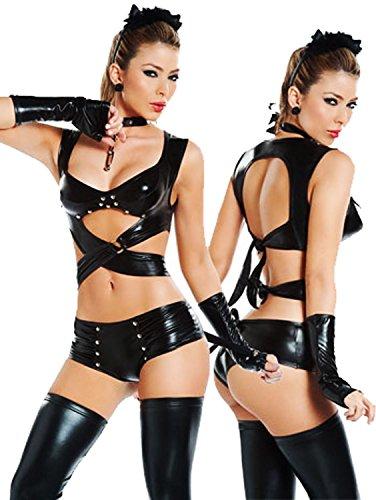 Dopeme Valentines Womens Black Lingerie Wet Look Punk Strippers Clubwear Mini Dress S/M