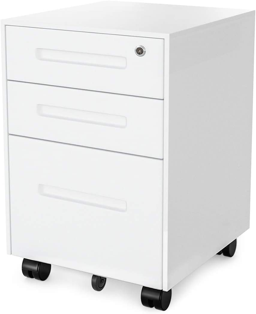 FORSTEEL File Cabinet, 3 Drawers Mobile Filing Cabinet with Lock, Steel File Cabinet Legal/Letter/A4 Size, Fully Assembled with Anti-tilt Setting for Home Office, White