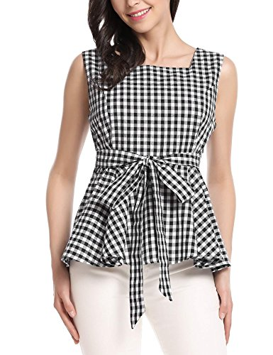 Zeagoo Women's Vintage Sleeveless Checked Peplum Top Tie-Bow Waist Black XL (Bow Peplum)