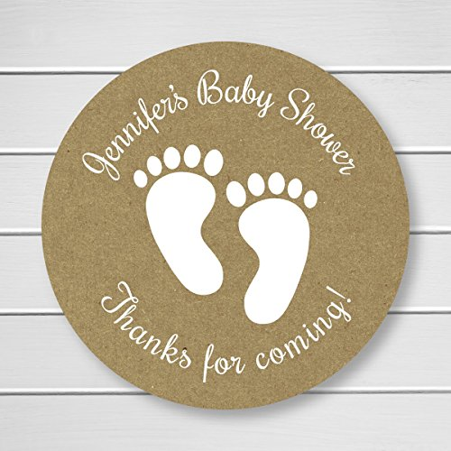 Baby Shower White Ink on Kraft Footprint Thank You Stickers (#231-KR-WT)
