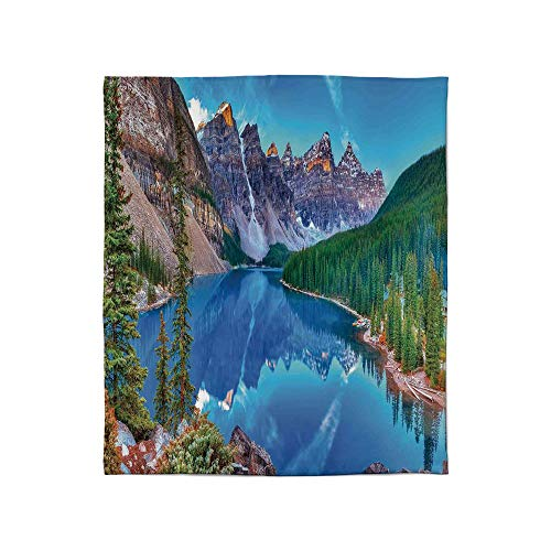 YOLIYANA Lightweight Blanket,Lake House Decor,for Bed Couch Chair Fall Winter Spring Living Room,Size Throw/Twin/Queen/King,Moraine Lake Sunrise in Banff National Park ()