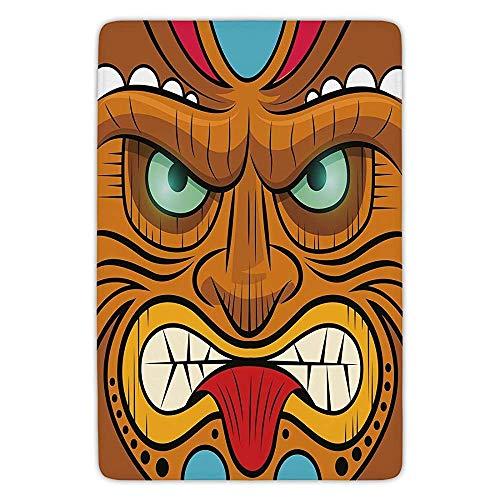 Bathroom Bath Rug Kitchen Floor Mat Carpet,Tiki Bar Decor,Cartoon Style Angry Looking Tiki Warrior Mask Colorful Icon Totem Culture Decorative,Multicolor,Flannel Microfiber Non-slip Soft Absorbent