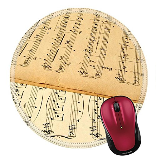 Liili Round Mouse Pad Natural Rubber Mousepad Old yellowing music sheets from the early 20th century Photo (20th Century Concertos)