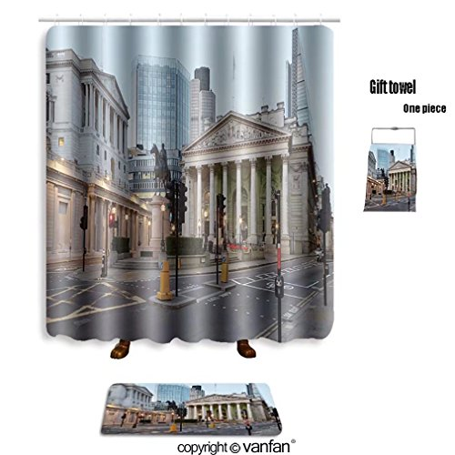vanfan bath sets with Polyester rugs and shower curtain London Royal Exchange, shopping centre and Ba shower curtains sets bathroom 60 x 72 inches&23.6 x 15.7 inches(Free 1 towel and - Tacoma Shopping Center