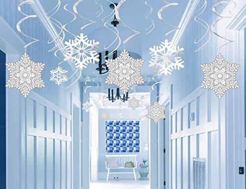 36ct Christmas Snowflake Hanging Swirl Decorations Winter Wonderland Xmas Holiday Party Supplies