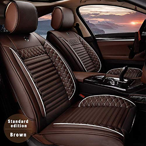 Maiqiken Custom Car Seat Cover for BMW X5 E70 F15 2014-2019 Five Seat Car Seat Cushion Cover Full Set Needlework PU Leather Seat Pad Protector ()