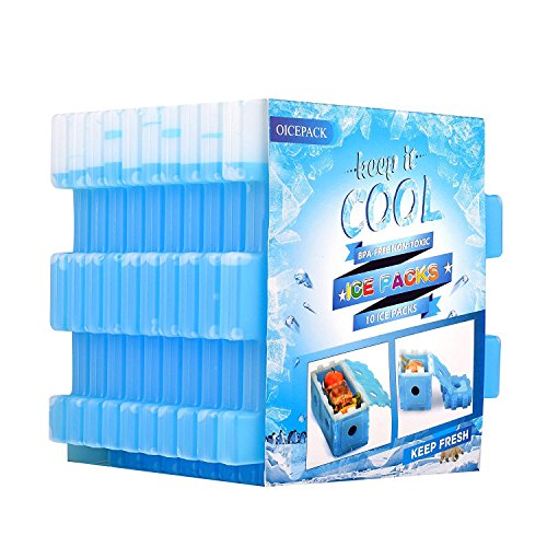 OICEPACK Cool Pack (10-Piece Set), Keep Cool Reusable Ice Pack Lunch Boxes That can be Used to Keep Food Fresh and Outdoors Cooler Long-Lasting Refrigerator Ice Pack (Blue)