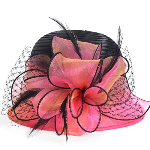 Kentucky Derby Dress Church Cloche Hat Sweet Cute Floral Bucket Hat (Rose)