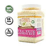 Pride Of India - Thai White Jasmine Rice - Fragrant Hom Mali Rice, 2.2 Pound (1 Kilo) Jar+ 50% Extra Free = 3.3 Pounds (1.5 kg) Total