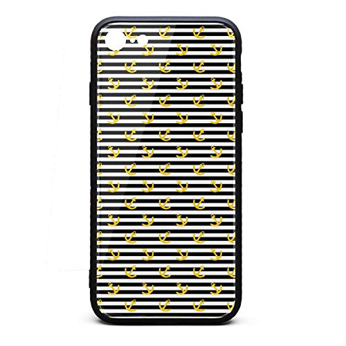KylA Forster.iPhone 7/8 Case.Yellow Anchor Stripe White and Black Shock Absorption TPU Cover Case Tempered Glass Design Back Drop Protection Phone Case for iPhone 7/8