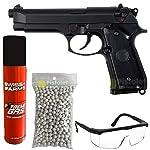 SAIGO Airsoft-Pack Pistolet 92 à Gaz Noir/Semi-Automatique/Puissance 0.5 Joule/avec Accessoires 6