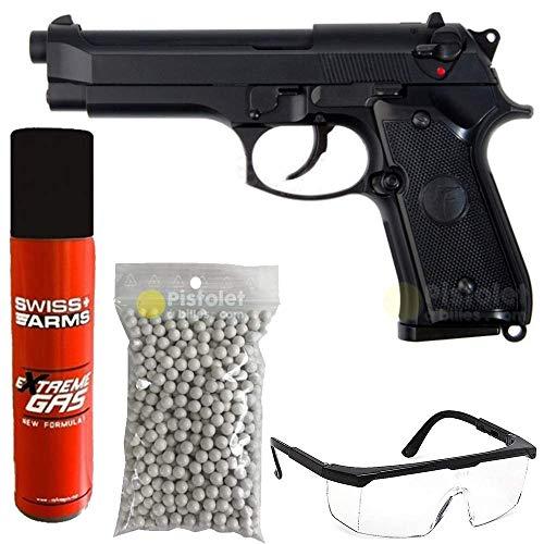 SAIGO Airsoft-Pack Pistolet 92 à Gaz Noir/Semi-Automatique/Puissance 0.5 Joule/avec Accessoires 1