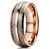 Three Keys 8mm Tungsten Wedding Ring for Men Domed Imitated Meteorite Inlay Rose Gold Mens Meteorite Wedding Band Engagement Ring Promise Ring Size 9.5