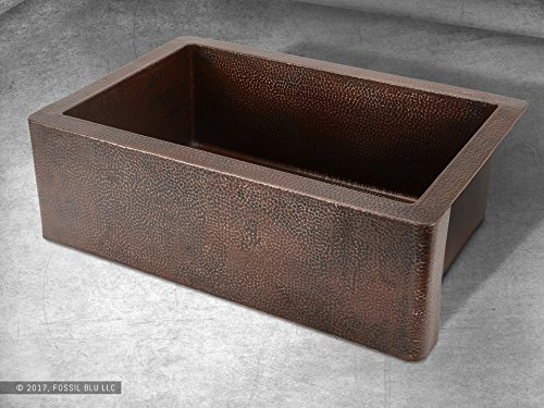 Luxury 33 inch Copper Farmhouse Kitchen Sink, Extra-thick 14-Gauge Pure Solid Copper, Artisan Hammered Finish, Single Bowl with Flat Front, includes Copper Disposal Flange, FSW1100 by Fossil Blu by Fossil Blu (Image #3)