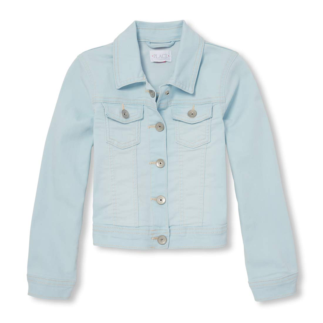 The Children's Place Big Girls' Denim Jacket, Light Blue ANGL wash, XS (4)