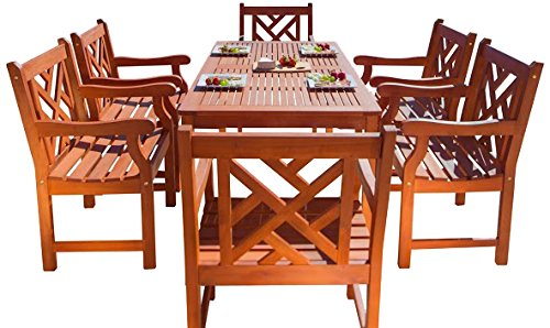 Vifah Furniture Piece, Multicolored - Included 1 rectangular table with umbrella hole, 6 chairs No Cushion or pillows included 1-Year warranty against manufacturing defects - patio-furniture, dining-sets-patio-funiture, patio - 51SyGgD6bBL -