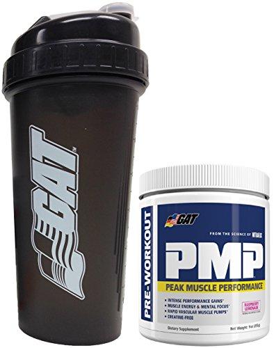 GAT PMP Peak Muscle Performance Pre-Workout Powder, 9 oz (30 svgs) with BONUS GAT Shaker Bottle (Raspberry Lemonade)