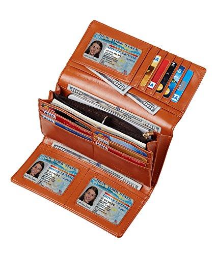 Travelambo Womens RFID Blocking Wallet Trifold Ladies Luxury Leather Clutch Travel Purse (wax tan) ()