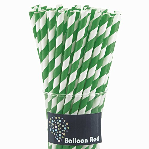 Biodegradable Paper Drinking Straws (Premium Quality), Pack of 50, Striped - Green