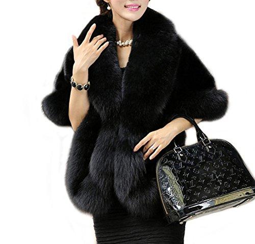 Amore Bridal Women's Luxury Faux Fur Shawl Wrap Stole Cape for Winter Black - Dresses White Black Or