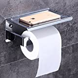 DGF Toilet Paper Holder, Bathroom Stainless Steel Toilet Paper Tray L180mmW90mm H80mm Can Put The Phone ( Color : Silver )