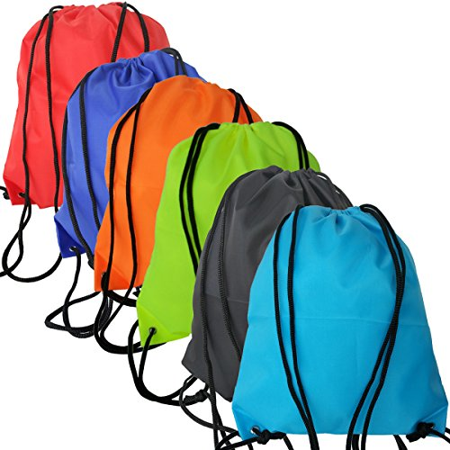 6 Pack Drawstring Backpack Bags, 420D polyester fabric Folding Shoulder Tote Sack Cinch Bag for Picnic Gym Sport Beach Travel Storage (Drawstring Backpack Sack)