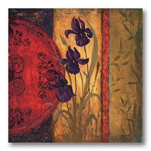 Iris Fusion I - Beautiful Classic Oriental Floral Print; One 12X12 Poster Print. Red/Purple/Yellow ()