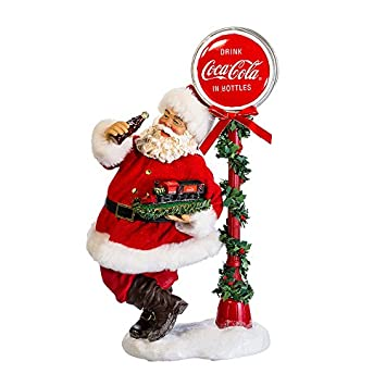 Kurt Adler 14 Santa with LED Light-Up Coke Sign