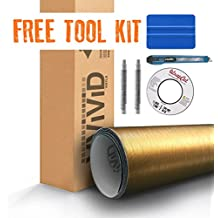 Gold Brushed Metallic Steel 5ft x 3ft VViViD8 Vinyl Wrap Roll with Air Release Technology with Free Tool Set Kit Included
