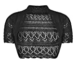 Momo&Ayat Fashions Girls Kids Crochet Short Sleeve Knitted Bolero Shrug Age 2-14 Years (Age 13-14 Years, Black)