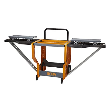 Pleasant Bora Portamate Miter Saw Stand Work Station Mobile Rolling Table Top Workbench Orange Grey With Folding Wing Extensions Creativecarmelina Interior Chair Design Creativecarmelinacom