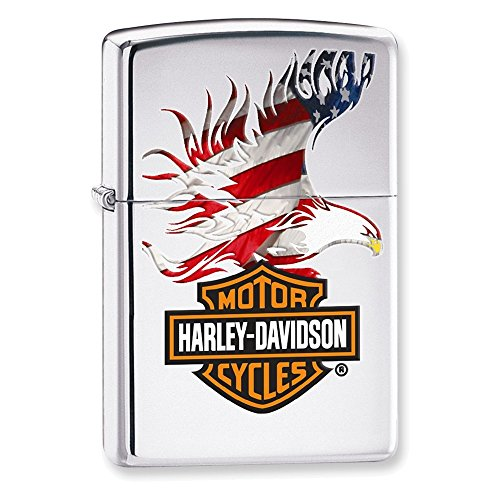 Eagle Italian Charm - Zippo Harley-Davidson Flag Eagle High Polish Chome Lighter
