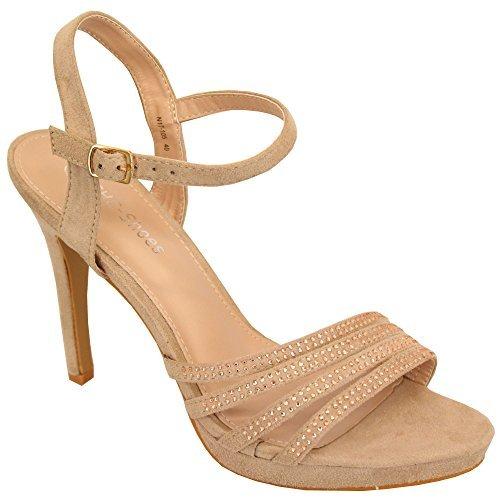 CHC Ladies Stiletto Heel Sandals Womens Diamante Open Toe Bridesmaid Wedding Bridal Beige - N17105 UrsTIzFo4w