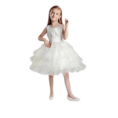 cf56700bd0 Amazon.com  Angel Dress Shop A Line Sleeveless Little Girls Flower Girl  Dress Tea Length Wedding Party Ball Gown with Bow  Clothing