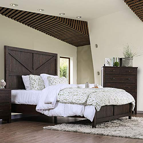 1pc Eastern King Size Bed Tall Panel Headboard Furniture Espresso Transitional ()