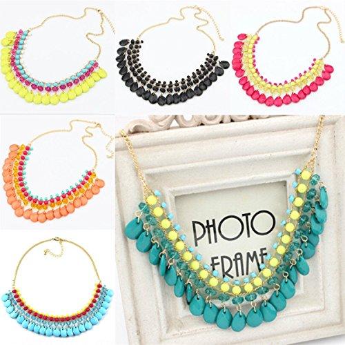 Sufang Lady Fashion Jewelry Crystal Chunky Statement Chain Pendant Women Necklace Bib Choker Black (Fang Black Pendant)