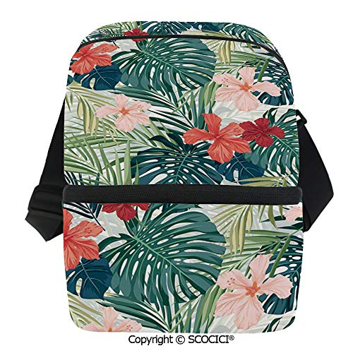 SCOCICI Reusable Insulated Grocery Bags Summer Beach Holiday Themed Hibiscus Plumeria Crepe Ginger Flowers Decorative Thermal Cooler Waterproof Zipper Closure Keeps Food Hot Or -