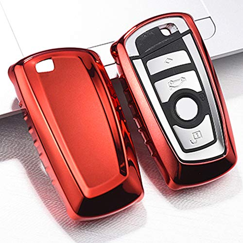 QBUC for BMW Key Fob Cover Protective Case, Soft TPU Anti-dust Protection Key Case Shell Keyless Remote Control Smart Car Key Protector for BMW 1/2/3/4/5/6/7 Series and X3 X4 M2 M3 M4 M5 M6(Red) (Best Looking Bmw M3)